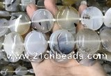 CAA3746 15.5 inches 30mm flat round Montana agate beads