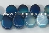 CAA3755 Top drilled 5*8mm flat teardrop line agate beads
