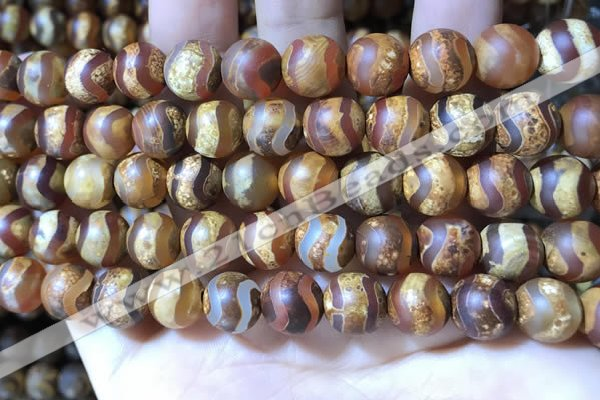 CAA3895 15 inches 10mm round tibetan agate beads wholesale