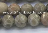 CAA3962 15.5 inches 8mm faceted round chrysanthemum agate beads