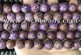CAA4005 15.5 inches 14mm round purple crazy lace agate beads