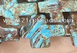CAA4018 15.5 inches 12*16mm cross blue crazy lace agate beads