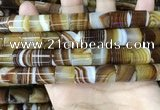 CAA4182 15.5 inches 12*13mm tube line agate beads wholesale