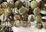 CAA4206 15.5 inches 18mm flat round line agate beads wholesale