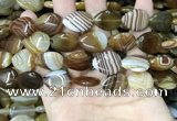CAA4220 15.5 inches 15*20mm flat teardrop line agate beads wholesale
