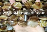CAA4222 15.5 inches 22*30mm flat teardrop line agate beads wholesale