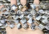 CAA4380 15.5 inches 12*12mm diamond Montana agate beads