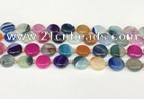 CAA4418 15.5 inches 14mm flat round agate druzy geode beads