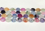CAA4419 15.5 inches 15mm flat round agate druzy geode beads