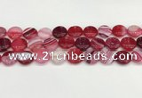 CAA4599 15.5 inches 14mm flat round banded agate beads wholesale