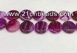 CAA4638 15.5 inches 30mm flat round banded agate beads wholesale