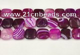 CAA4759 15.5 inches 18*18mm square banded agate beads wholesale