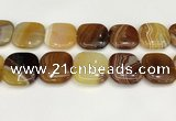 CAA4781 15.5 inches 30*30mm square banded agate beads wholesale