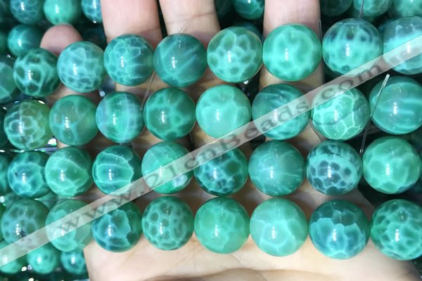 CAA5025 15.5 inches 14mm round green dragon veins agate beads