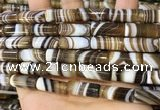 CAA5127 15.5 inches 8*20mm tube striped agate gemstone beads