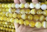 CAA5152 15.5 inches 10mm faceted round banded agate beads