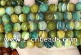 CAA5167 15.5 inches 12mm faceted round banded agate beads