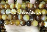 CAA5175 15.5 inches 14mm faceted round banded agate beads