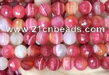 CAA5204 15.5 inches 16mm faceted round banded agate beads