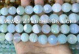 CAA5224 15.5 inches 14mm faceted round banded agate beads