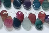 CAA5314 Top drilled 6*8mm flat teardrop line agate beads