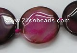 CAA563 15.5 inches 30mm faceted flat round dragon veins agate beads