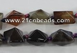 CAA603 15.5 inches 13*13*15mm pyramid dragon veins agate beads