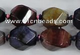 CAA618 15.5 inches 15*20mm faceted & twisted dragon veins agate beads