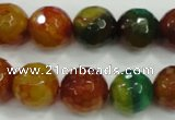 CAA718 15.5 inches 12mm faceted round fire crackle agate beads