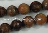 CAA722 15.5 inches 14mm faceted round fire crackle agate beads