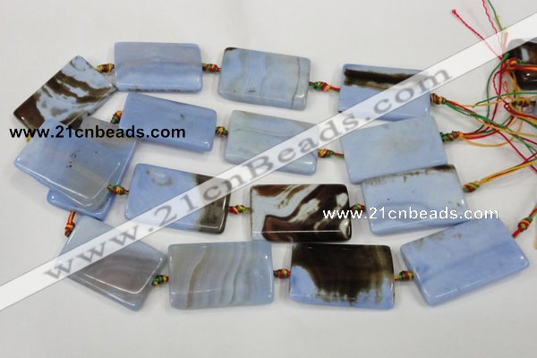 CAA748 15.5 inches 25*40mm rectangle blue lace agate beads wholesale