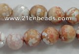 CAA803 15.5 inches 12mm faceted round fire crackle agate beads