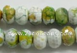 CAA825 15.5 inches 10*14mm faceted rondelle fire crackle agate beads