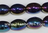 CAA853 15.5 inches 13*18mm rice AB-color black agate beads