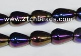 CAA855 15.5 inches 10*14mm teardrop AB-color black agate beads