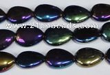CAA860 15.5 inches 10*14mm flat teardrop AB-color black agate beads