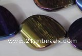 CAA863 15.5 inches 25*33mm twisted teardrop AB-color black agate beads