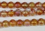 CAA869 15.5 inches 8mm round AB-color red agate beads