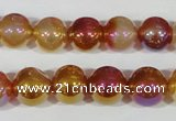CAA870 15.5 inches 12mm round AB-color red agate beads