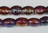 CAA878 15.5 inches 7*14mm rice AB-color red agate beads