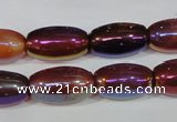 CAA879 15.5 inches 11*20mm rice AB-color red agate beads