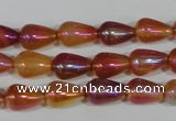 CAA880 15.5 inches 8*12mm teardrop AB-color red agate beads