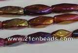 CAA882 15.5 inches 7*18mm faceted cuboid AB-color red agate beads