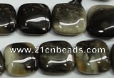 CAA953 15.5 inches 18*18mm square natural fossil wood agate beads