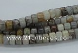 CAB138 15.5 inches 4*6mm roundel bamboo leaf agate beads