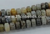 CAB139 15.5 inches 5*8mm roundel bamboo leaf agate beads