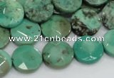 CAB33 15.5 inches 14mm faceted coin green grass agate gemstone beads