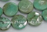 CAB34 15.5 inches 18mm faceted coin green grass agate gemstone beads