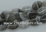 CAB353 15.5 inches 10*14mm oval grey agate gemstone beads wholesale