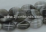 CAB354 15.5 inches 13*18mm oval grey agate gemstone beads wholesale